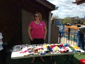 Marla selling cards and crafts for the pug rescue center