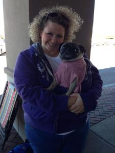 Marla and one of her two pugs