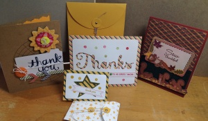 Some of these cards are from Stampin' Up's Paper Pumpkin monthly subscription where a box of supplies arrive at your doorstep to give you a complete crafting treat.